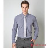 男士襯衫長袖 夢特嬌 素面直條紋吸濕排汗款 灰色 灰色