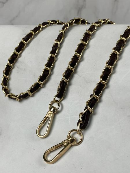 1入 高質感 穿繩鏈條 背帶0.8cm寬 皮革鏈條 鍊條 肩帶 斜跨鍊子 韓版 包包鍊條 名牌包 皮包鍊條