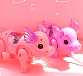 電動玩具 纖繩豬抖音同款電動牽繩小豬帶繩女孩兒童玩具會跑的發光走路【快速出貨八折下殺】