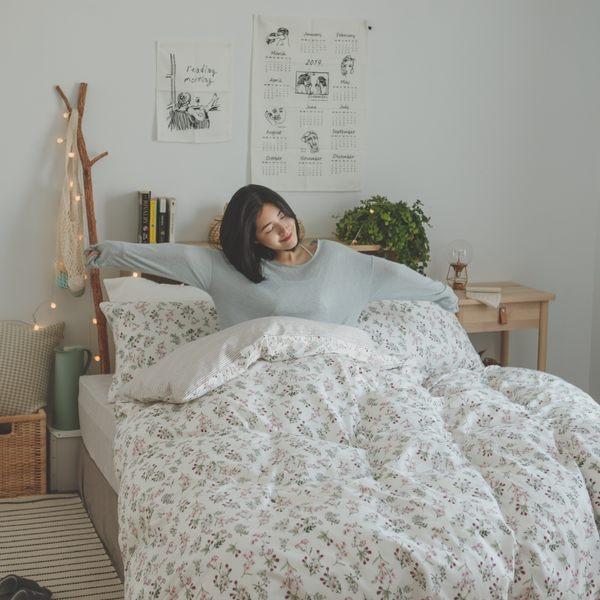 純棉 床包被套組(鋪棉被套) 雙人【茉莉】ikea風 100%精梳棉 翔仔居家