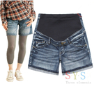 [Mamae] 日本S.Y.S 孕婦托腹短褲 外貿孕婦裝 孕婦彈力牛仔托腹短褲捲邊 可調式腰圍  孕婦褲
