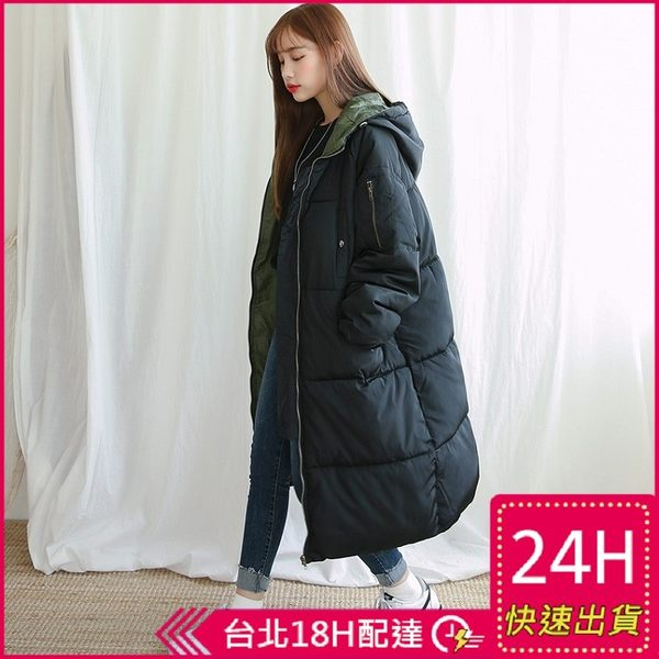 免運★梨卡 - 情侶可穿加棉仿羽絨棉質外套大衣正韓國代購100%韓國空運中長版鋪棉外套A817-3