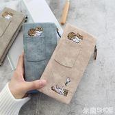 短夾 仿帆布繡花貓咪圖案大容量搭扣可裝手機口袋裝飾女包
