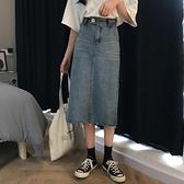 高腰牛仔裙女2020春裝新款正韓chic中長款復古學生a字開叉半身裙