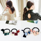 【NiNi Me】韓系髮飾 甜美緞帶蝴蝶結珍珠方塊髮束 髮束H9111
