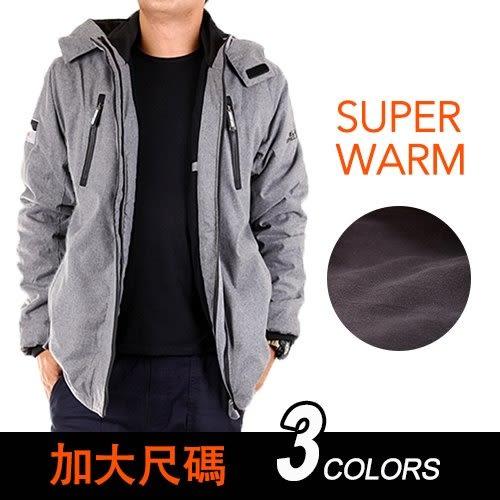 CS衣舖 加大尺碼 5L-6L 同SuperDry版型 高機能 防風 防潑水 內刷毛 可拆帽 雙拉鍊 衝鋒外套 三色 80098
