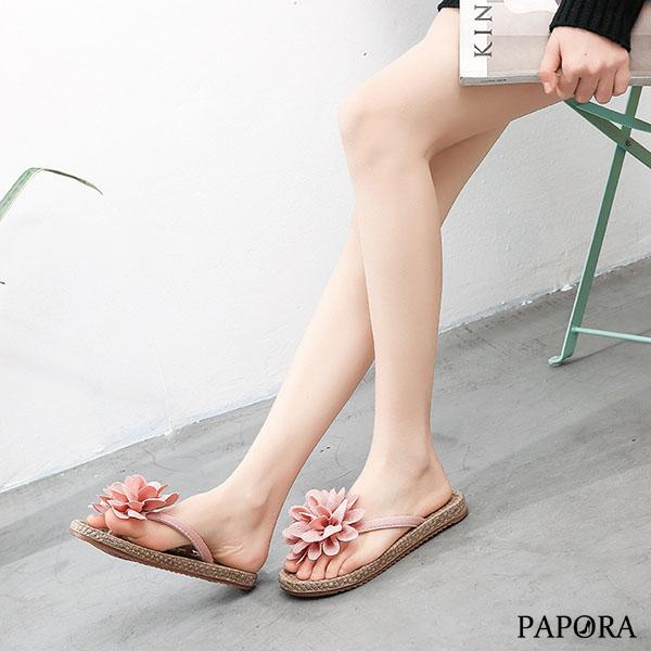 拖鞋.氣質茶花夾腳平底拖鞋【KV2015】黑/米/粉