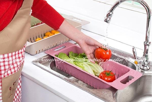 【碗盤瀝水籃】韓系北歐無毒麥纖維 可伸縮水槽置物架 碗盤瀝水架 蔬果洗菜籃