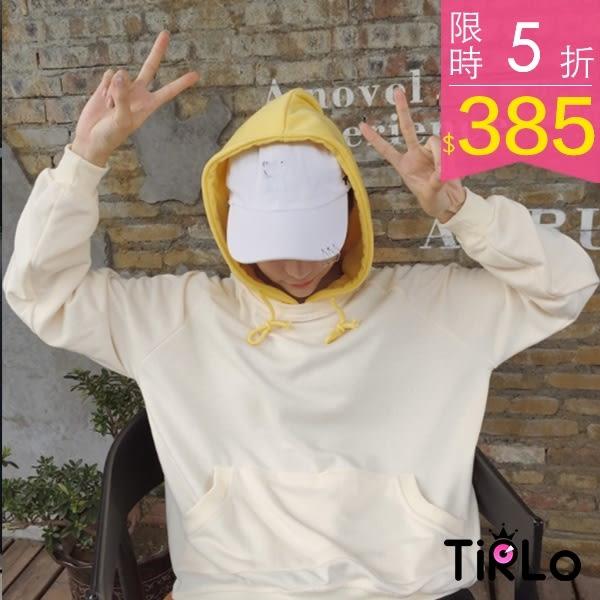 帽T-Tirlo-元氣跳色叮噹口袋連帽長袖T-兩色(現+追加預計5-7工作天出貨)