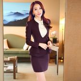 OL套裝(長袖裙裝)-秋冬純色荷葉邊顯瘦女制服3色73mp41【巴黎精品】