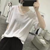 亞麻t恤女式夏季寬鬆顯瘦韓國純色簡單基礎款透氣短袖v領薄款上衣