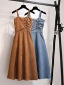 2019秋冬新款女裝復古溫柔風修身顯瘦中長款打底燈芯絨背帶洋裝  MKS免運