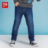 JJLKIDS 男童 經典刷白直筒內刷毛牛仔長褲(深藍)