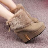 低筒雪靴-時尚潮流氣質蝴蝶結女高跟靴子2色73kg43[巴黎精品]