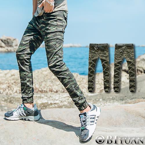 有加大尺碼Jogger休閒褲【T1522-1】OBI YUAN韓版軍裝後口袋虎紋迷彩大彈性束口工作褲