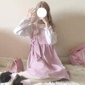 春裝女裝日系軟妹木耳邊加絨可愛襯衣 蝴蝶結背帶連裙時尚套裝 東京衣櫃