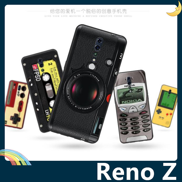 OPPO Reno Z 復古偽裝保護套 軟殼 懷舊彩繪 計算機 鍵盤 錄音帶 矽膠套 手機套 手機殼 歐珀