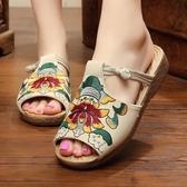 夏新款民族風女鞋老北京坡跟時尚涼拖鞋防滑魚嘴厚底繡花鞋