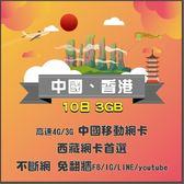 中國移動 10日卡 中國、香港通用網卡口/中港卡/中國網卡/大陸網卡/中國上網/大陸上網/中港網卡