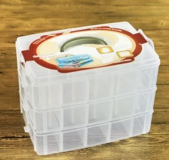(大) 三層自由分離式30格多用收納盒創意純色塑料家居收納盒 (不挑色)