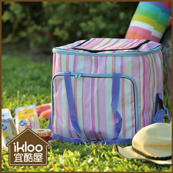 BO雜貨【YV9049】Ikloo~粉彩外出保冷袋 保溫袋 野餐 踏青 登山 露營 餐盒袋