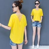 長版上衣 純色半截寬鬆t恤女士短袖韓版中長新款v領上衣服LJ9766『miss洛羽』
