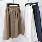 棉麻半身裙文藝中長裙子簡約氣質小清新a字裙 三角衣櫃