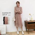 田園小碎花細褶洋裝-O-Rainbow【A011833】