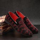 英倫男士尖頭皮鞋套腳水鉆休閒鞋發型師時尚低幫男鞋 迪澳安娜