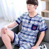 睡衣男夏季棉綢短袖大碼薄款套裝夏天男士短褲寬松綿綢套頭家居服 造物空間