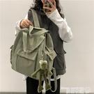 帆布後背包 書包女ins風 韓版大學生背包高中森系潮多用大容量旅行帆布後背包 曼慕