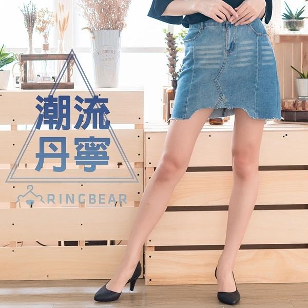 A字裙--時尚經典前後雙口袋顯瘦幾何剪接不規則下襬牛仔短裙(藍XL-5L)-Q93眼圈熊中大尺碼