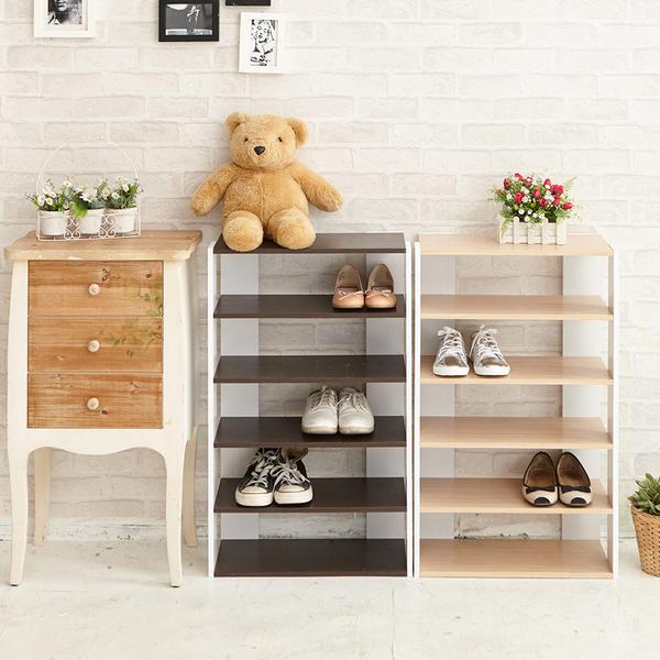 【ikloo】日系優雅五層木質鞋櫃(兩色可選)