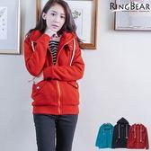 質感大衣--溫暖滿分造型環扣大口袋連帽內刷毛外套(黑.紅.綠XL-5L)-J222眼圈熊中大尺碼★
