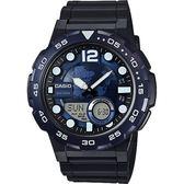 CASIO 卡西歐 10年電力世界地圖錶-藍x黑 AEQ-100W-2AVDF / AEQ-100W-2A