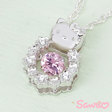 Hello Kitty凱蒂貓-花漾甜心(粉)-純銀項鍊