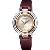 CITIZEN 星辰 L系列光動能同心圓女錶-酒紅絹絲錶帶/30.5mm EM0669-13X