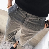 西裝褲男格子褲男修身韓版潮流小腳西褲復古英倫風西裝褲九分長褲休閒褲子聖誕交換禮物