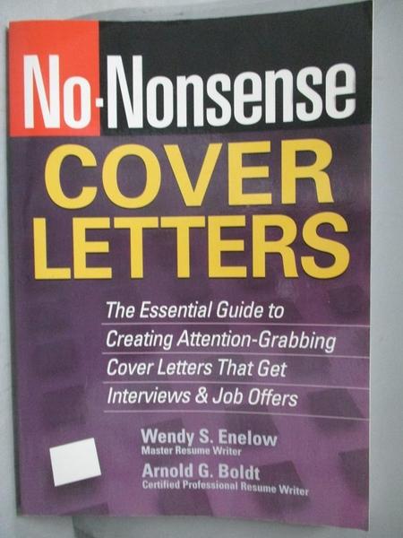 【書寶二手書T3/原文書_ZDR】No-Nonsense Cover Letters_Enelow
