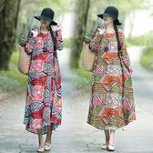 長袖棉麻洋裝秋季新款民族風中長款大碼寬松棉麻印花連身裙8175ZM2F-B093快時尚