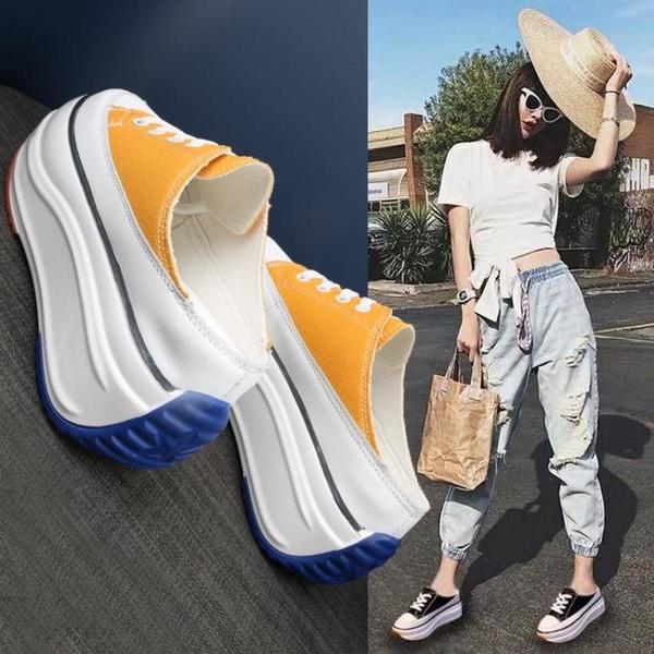 半拖鞋2021夏季半拖鞋包頭厚底無後跟內增高女鞋網紅外穿帆布懶人鞋 嬡孕哺