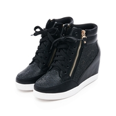 MICHELLE PARK 自信格調水鑽雙拉練內增高休閒鞋黑