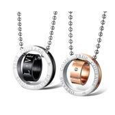 【5折超值價】  316L西德鈦鋼韓版首飾時尚雙色雙環圓環鈦鋼情侶項鏈