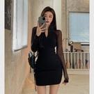 早秋洋裝 氣質法式v領網紗連身裙早秋2021年新款假兩件長袖女緊身包臀裙子 2018洋裝