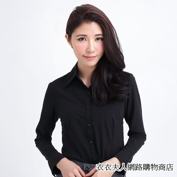 ╭*衣衣夫人OL服飾店*╮中大【F2161】棉素面開叉袖長袖-黑色44