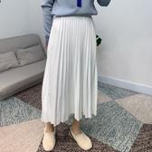 百褶裙(長裙)-春季純色高腰韓版女裙子4色73xg18[時尚巴黎]