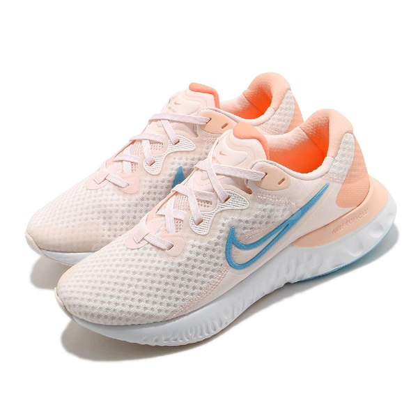Nike 慢跑鞋 Wmns Renew Run 2 粉紅 藍 基本款 運動鞋 女鞋 發泡中底【ACS】 CU3505-600