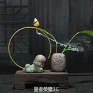 中式禪意陶瓷創意倒流香爐沉香檀香香薰爐家用玄關風化木茶道擺件 皇者榮耀