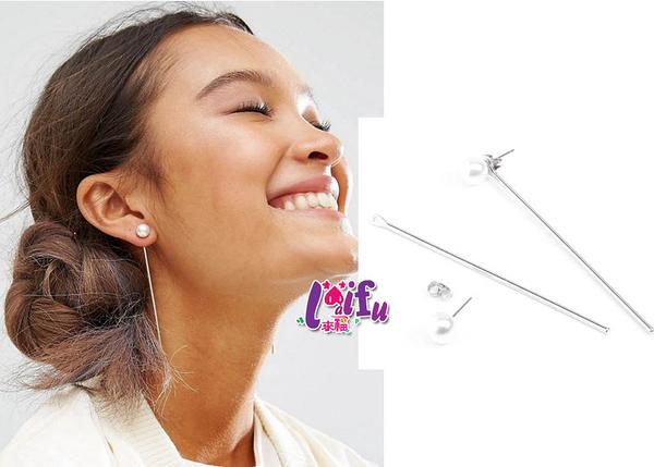 來福妹耳環,H423耳環極簡直線珍珠耳環歐美風耳環,一對售價110元