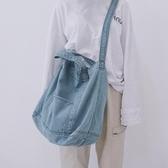 chic帆布包日系韓版ulzzang 女學生單肩包牛仔帆布袋購物袋側背包 晴天時尚